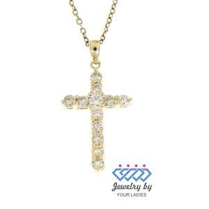 Diamond Cross Religious Fine Pendant Yellow Gold